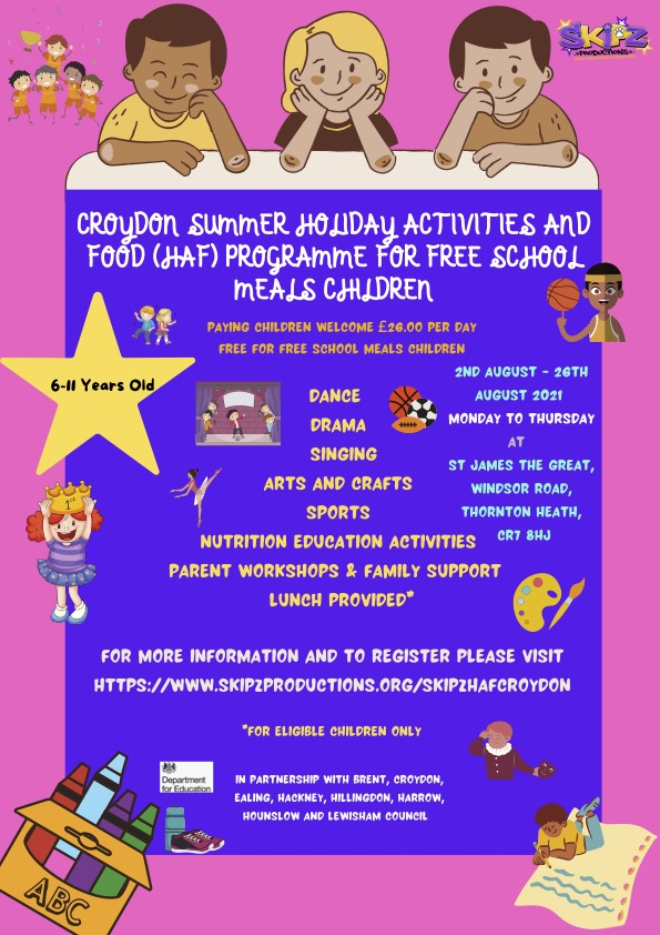 ST JAMES THE GREAT 6-11 YRS SUMMER PROGRAMME FOR FREE SCHOOL MEALS CHILDREN 2021
